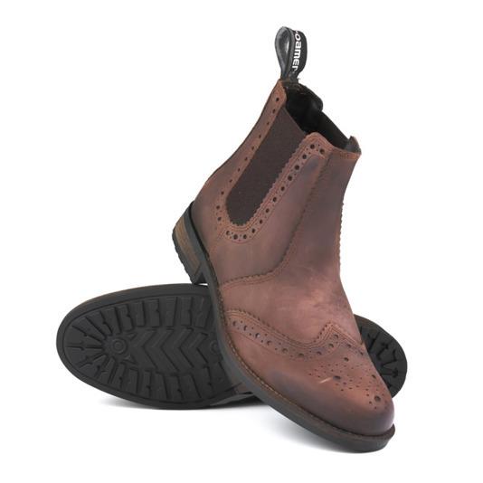 Kožená kotníková pánská obuv vojenská – hnědá