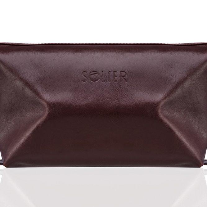 Solier pánská kožená kosmetická taška SK01 - BROWN-MAROON