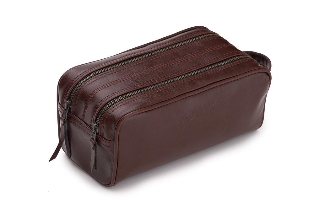 Pánská kožená univerzálni taška Solier SK02 -  BROWN-MAROON
