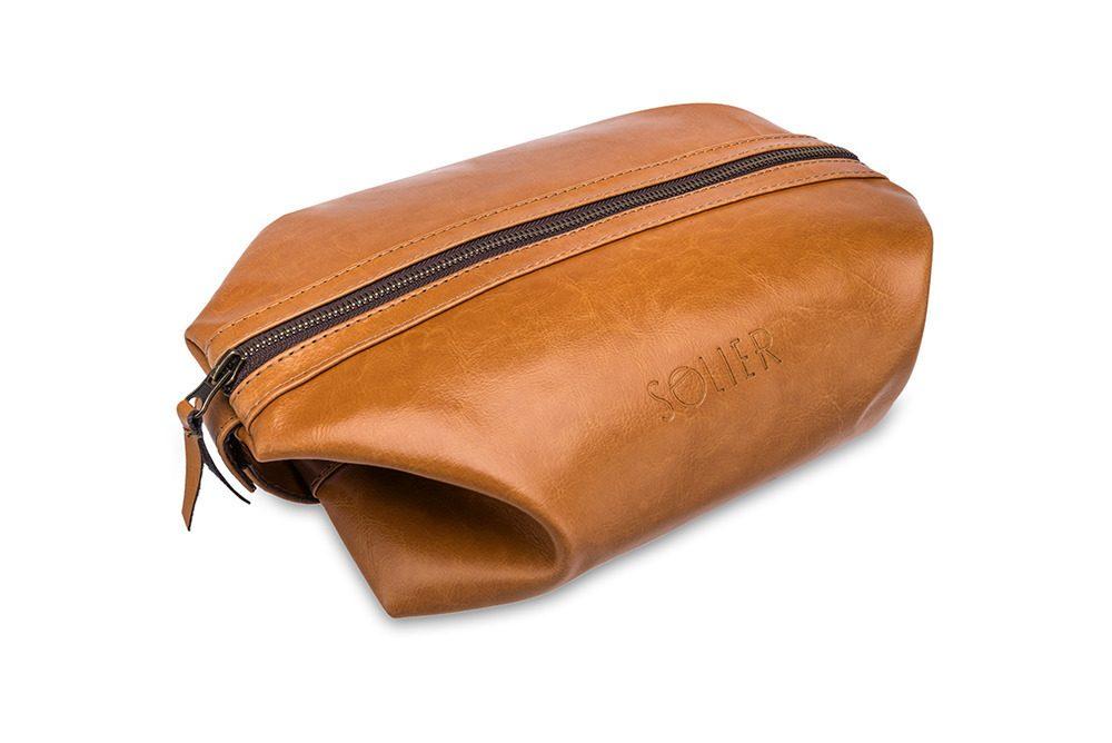 Solier pánská kožená kosmetická taška SK01 - CAMEL
