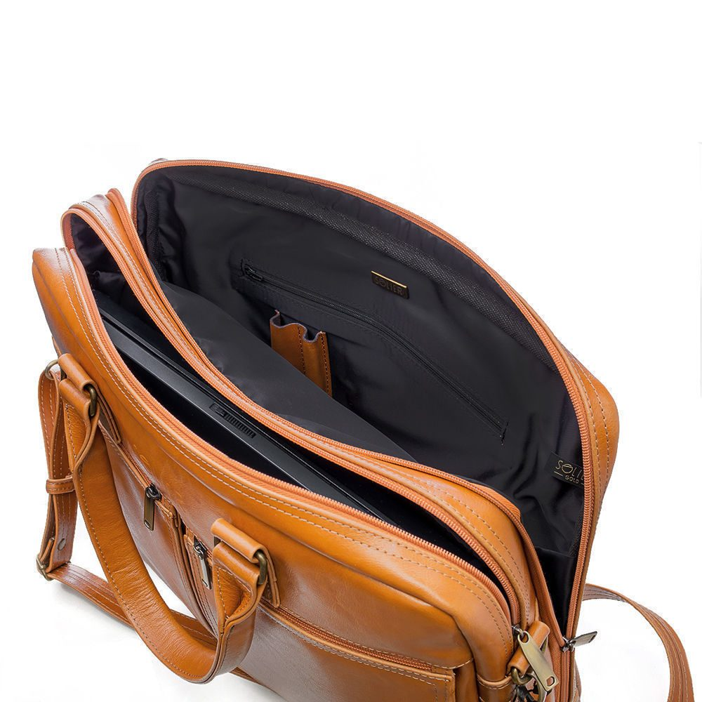 Solier pánská kožená taška SL01 camel (světle hnědá)