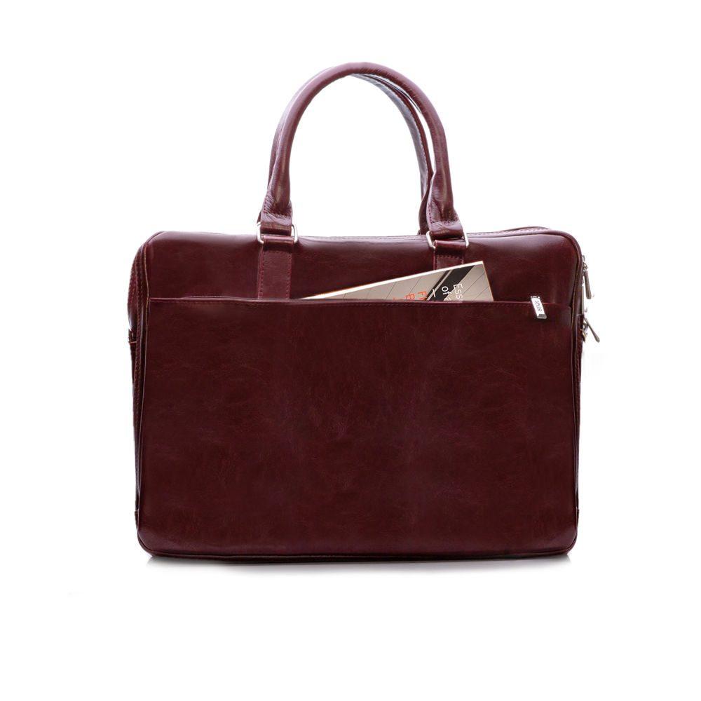 Solier pánská kožená taška SL01 brown-maroon (hnědá maroon)