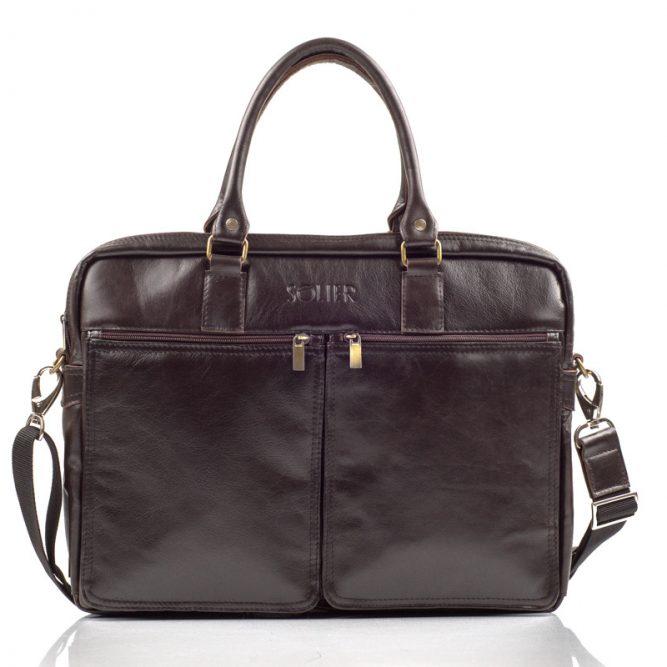 231082a5f Solier pánská kožená taška SL01 brown (hnědá)