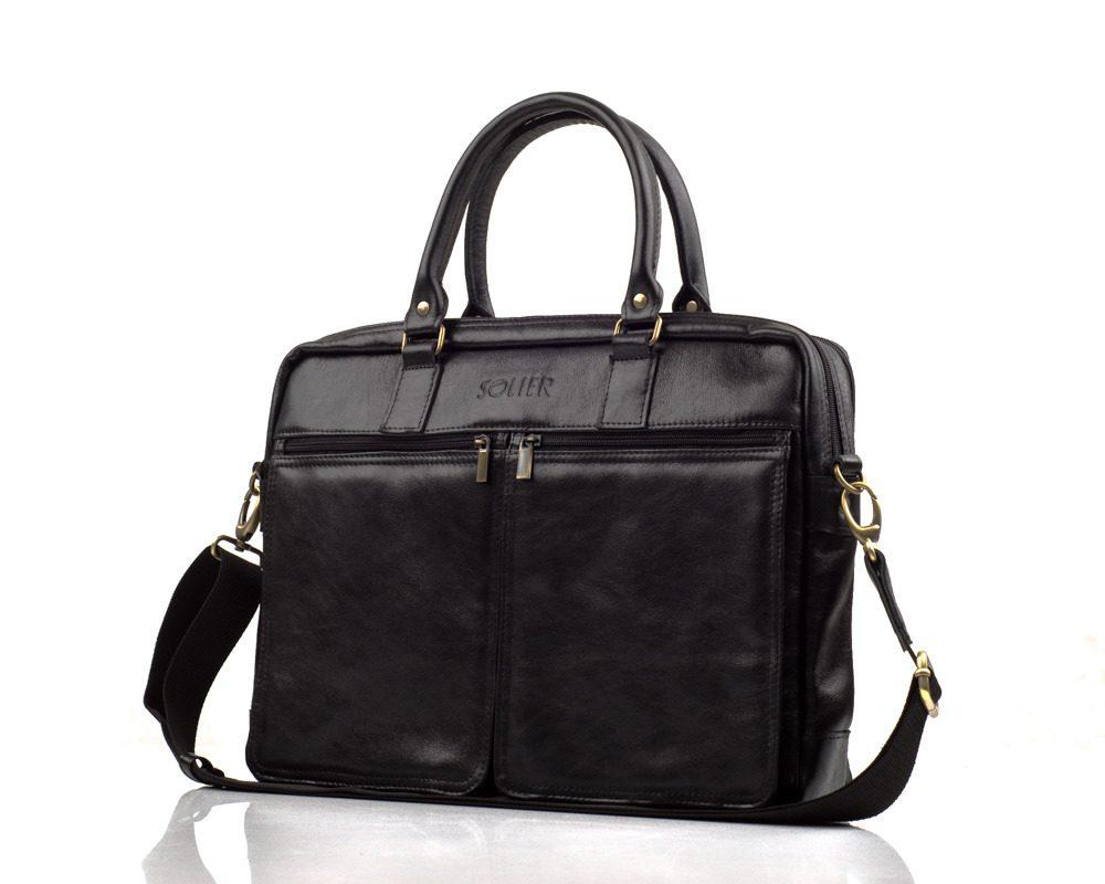 Solier pánská kožená taška SL01 black (černá)