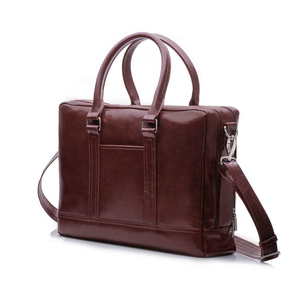 Solier pánská kožená taška SL02 BROWN-MAROON