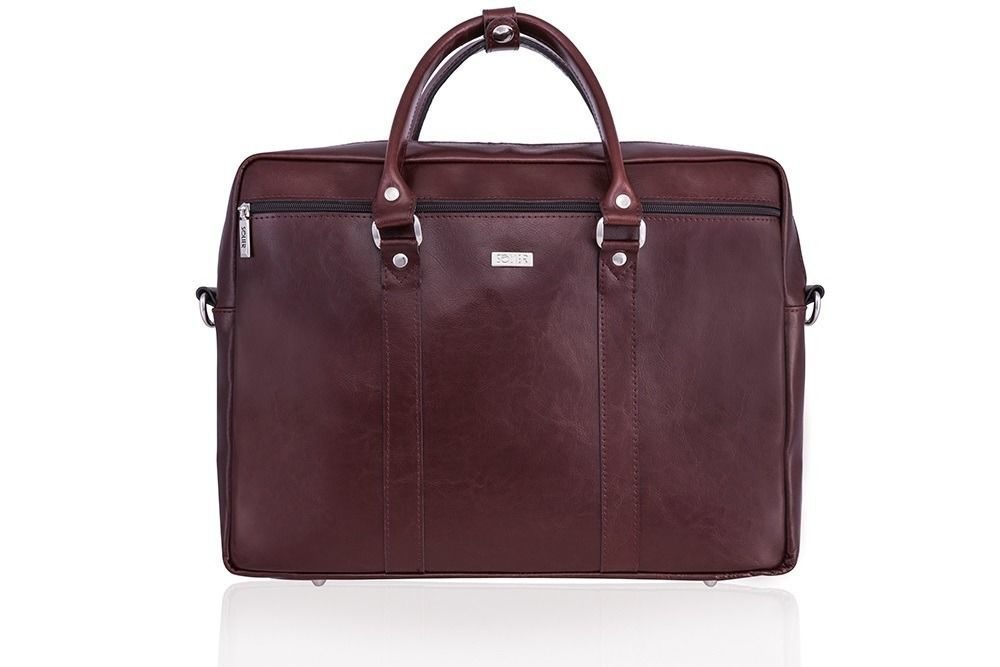 Solier pánská kožená taška SL03 brown-maroon (hnědá-maroon)