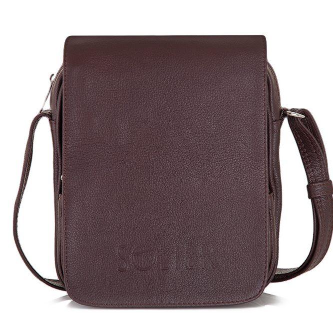 Solier pánská kožená taška přes rameno SL32 brown (hnědá)