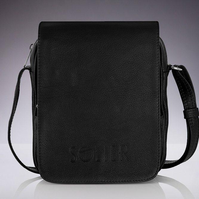 Solier pánská kožená taška přes rameno SL32 black (černá)