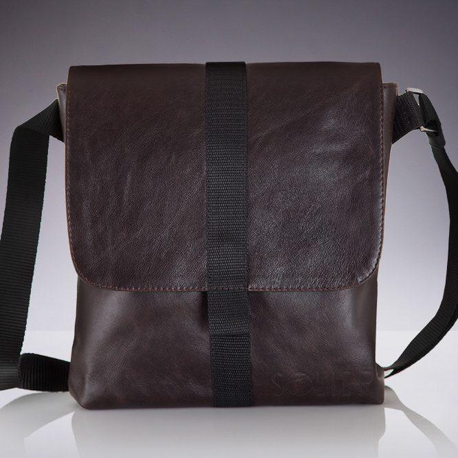 Solier pánská kožená taška přes rameno SL31 brown (hnědá)