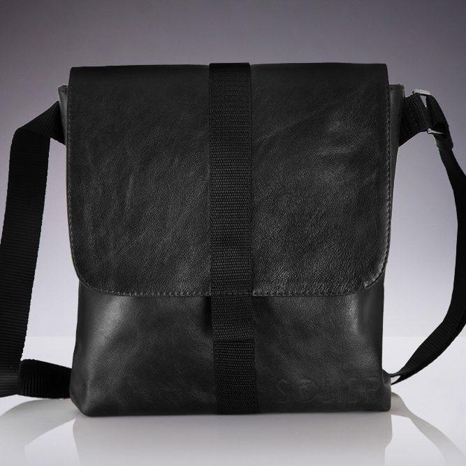 Solier pánská kožená taška přes rameno SL31 black (černá)