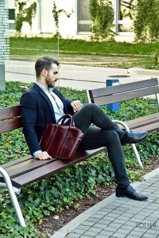 Solier kožená pánská taška SL20 brown-maroon (hnědá maroon)