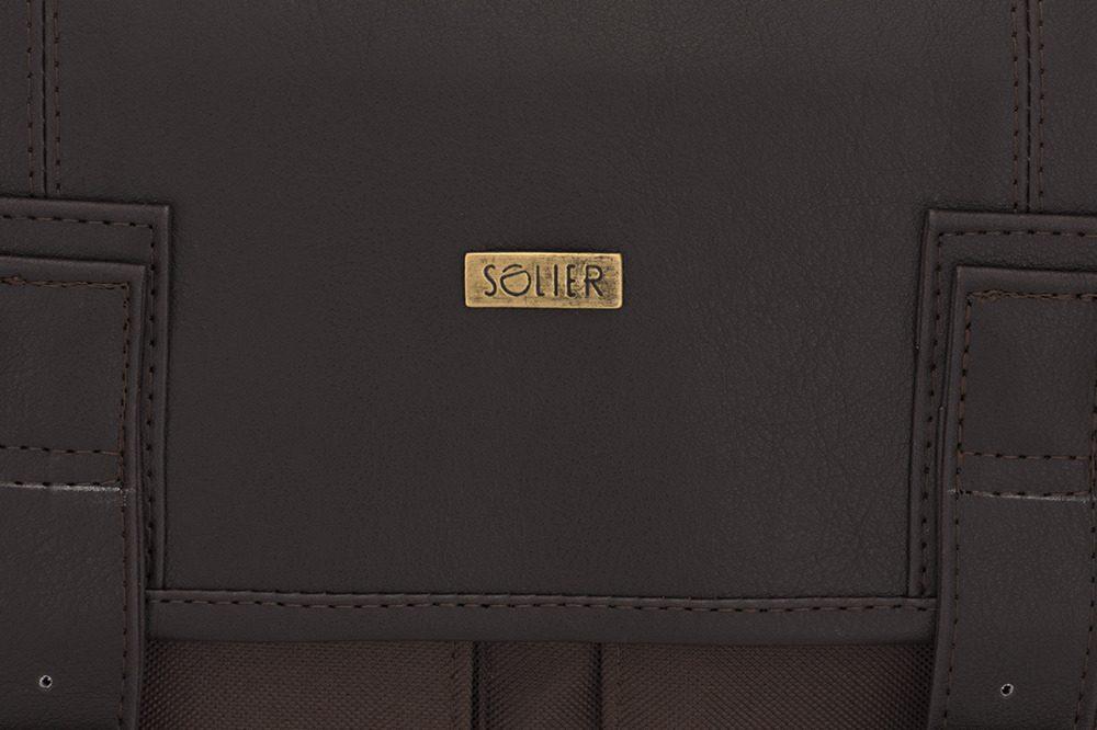 Solier pánská aktovka na notebook S14 brown (hnědá)