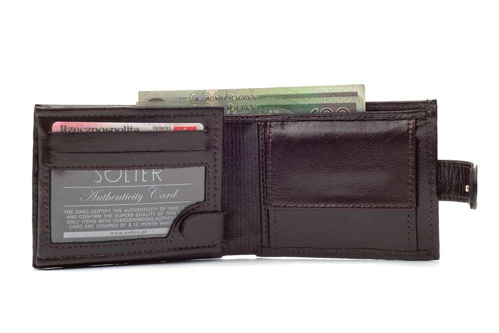 Elegantní kožená pánská peněženka značky SOLIER SW03 - BROWN