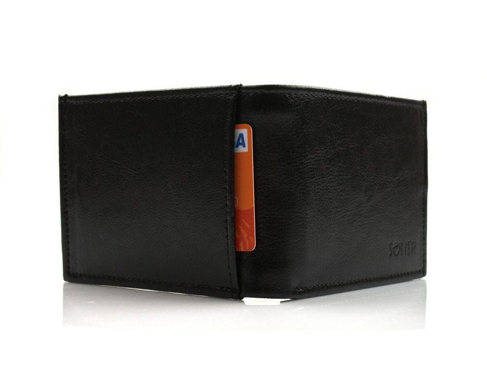 Elegantní kožená pánská peněženka značky SOLIER SW03B - BLACK