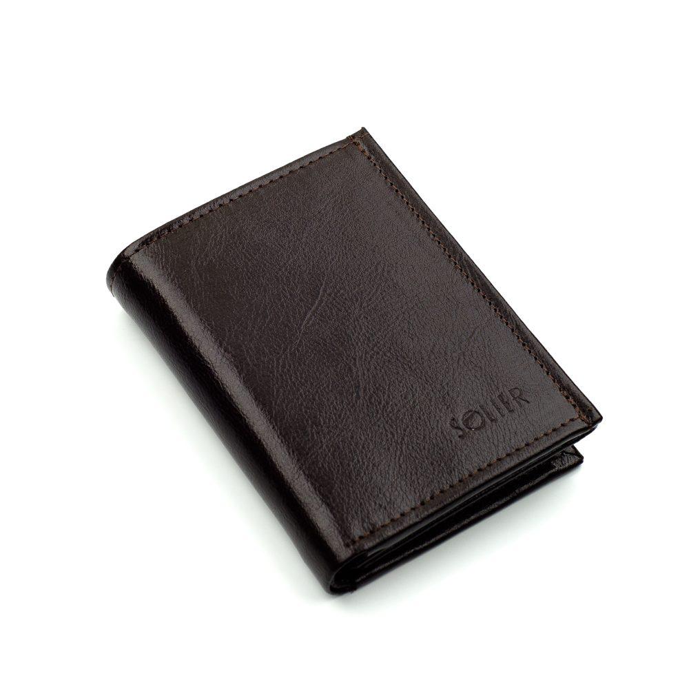 Elegantní kožená pánská peněženka značky SOLIER SW04B - BROWN
