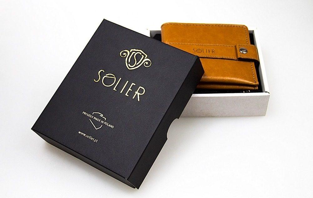 Elegantní kožená pánská peněženka značky SOLIER SW01B - BROWN