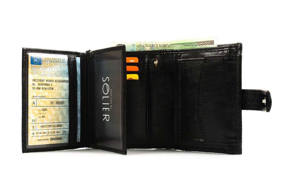 Elegantní kožená pánská peněženka značky SOLIER SW01 - BLACK