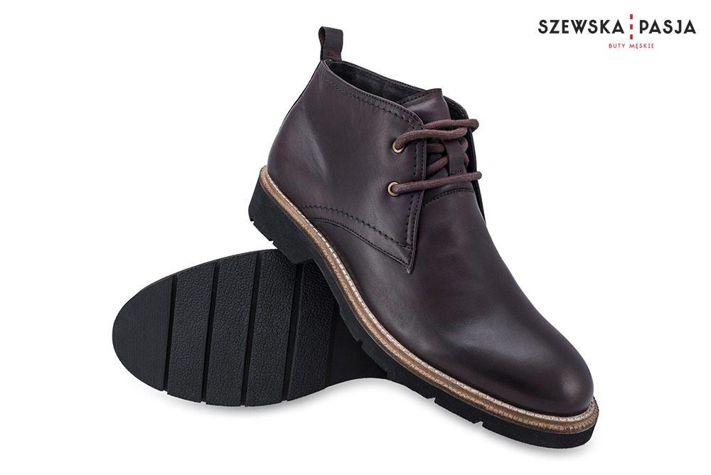 Kožené vysoký hnědé boty Chukka