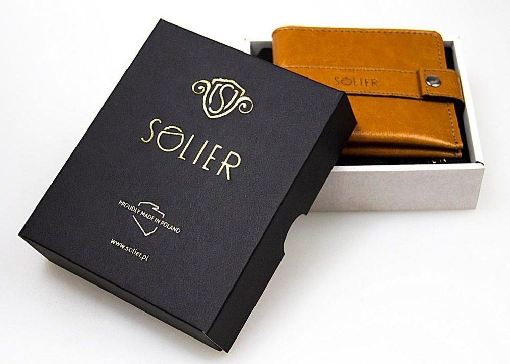 Elegantní kožená pánská peněženka značky SOLIER SA10 - BLACK