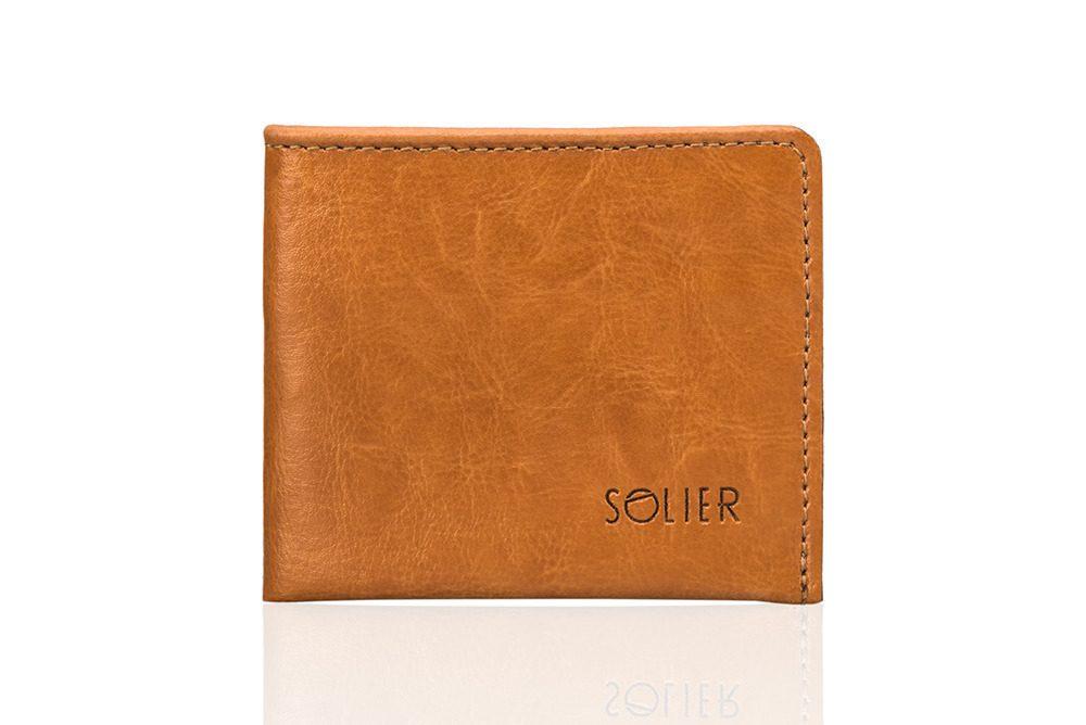 Elegantní kožená pánská peněženka značky SOLIER SW05B - CAMEL