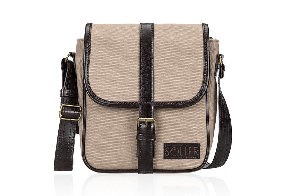 Solier pánská kožená taška SL08 HIKE beige (béžová)