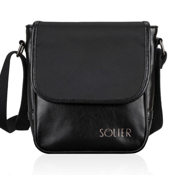 Solier pánská kožená taška přes rameno SL07 black (černá)