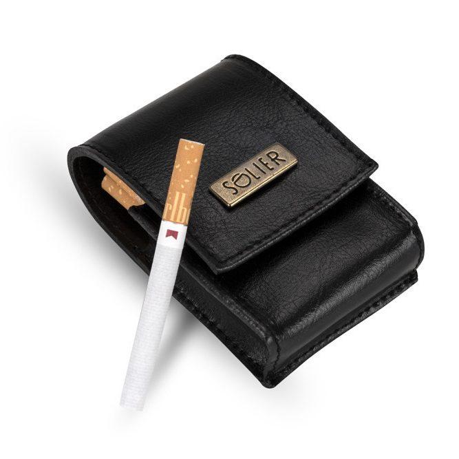 Pánské kožené pouzdro na cigarety Solier SA14 - BLACK
