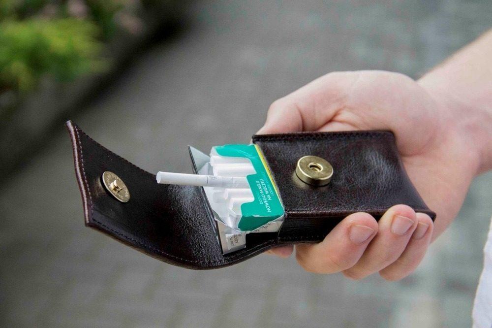 Pánské kožené pouzdro na cigarety Solier SA14 SLIM - DARK BROWN