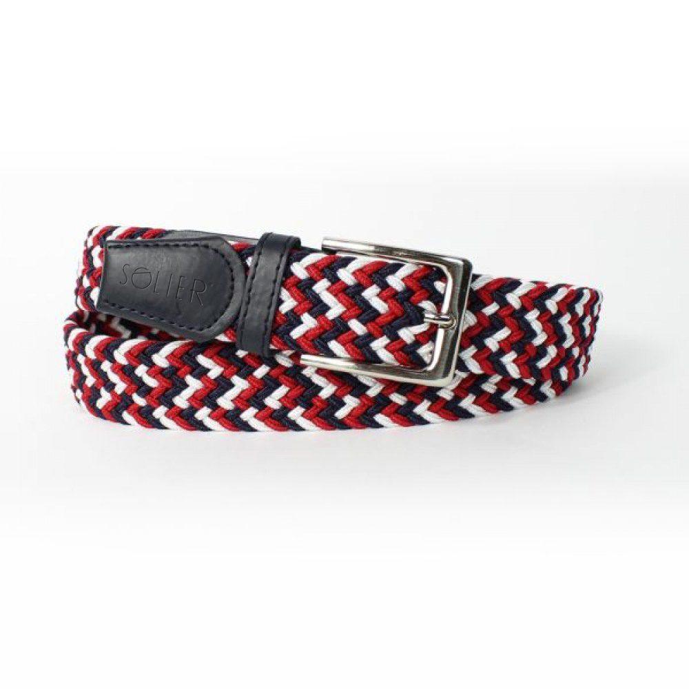 Pánský tkaný opasek Solier SB07 - Black/Red/White