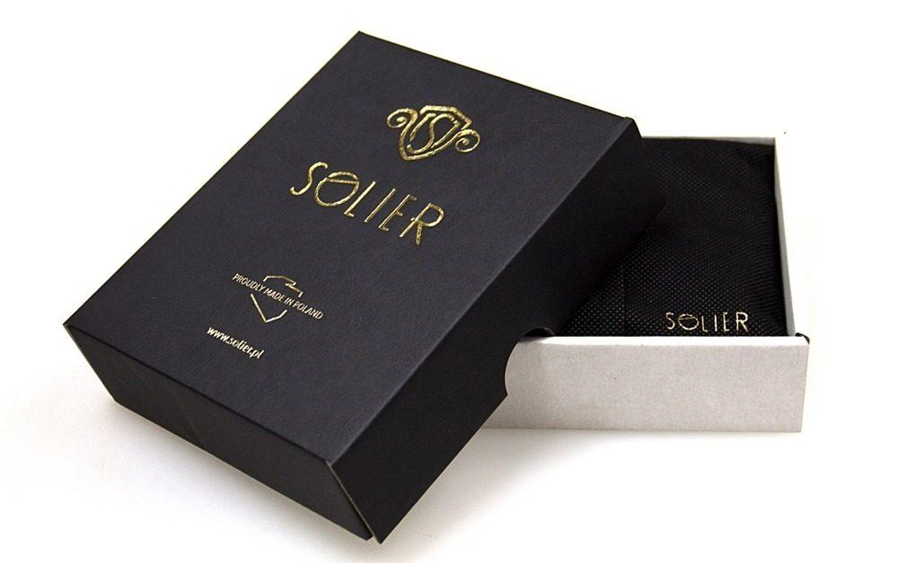 Pánský tkaný opasek Solier SB07 - White/Brown