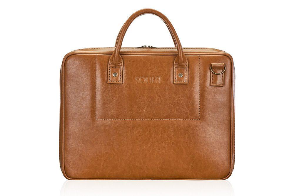 Solier kožená taška na notebook SL21 light brown (světle hnědá)