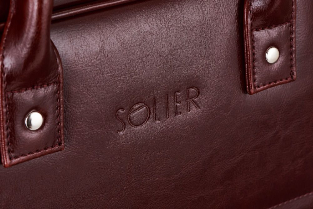 Solier kožená taška na notebook SL21 brown-maroon (hnědá maroon)