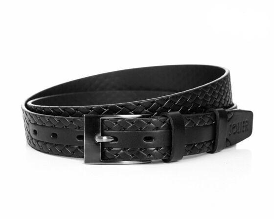 Pánský kožený opasek Solier SB02 - Black 90cm