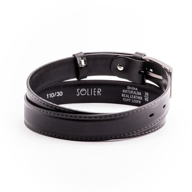 Pánský kožený opasek Solier SB09 - Black - 90cm