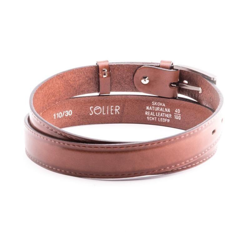 Pánský kožený opasek Solier SB09 - Light brown - 100cm