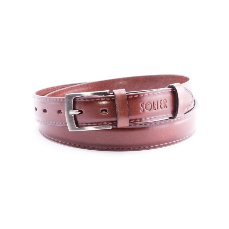 Pánský kožený opasek Solier SB09 - Dark brown - 110cm