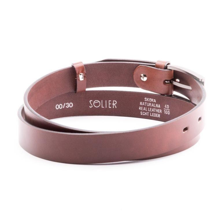 Pánský kožený opasek Solier SB11 - Dark brown - 90cm