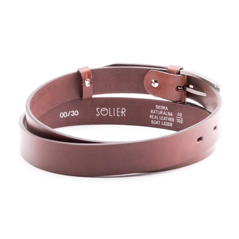 Pánský kožený opasek Solier SB11 - Dark brown - 100cm