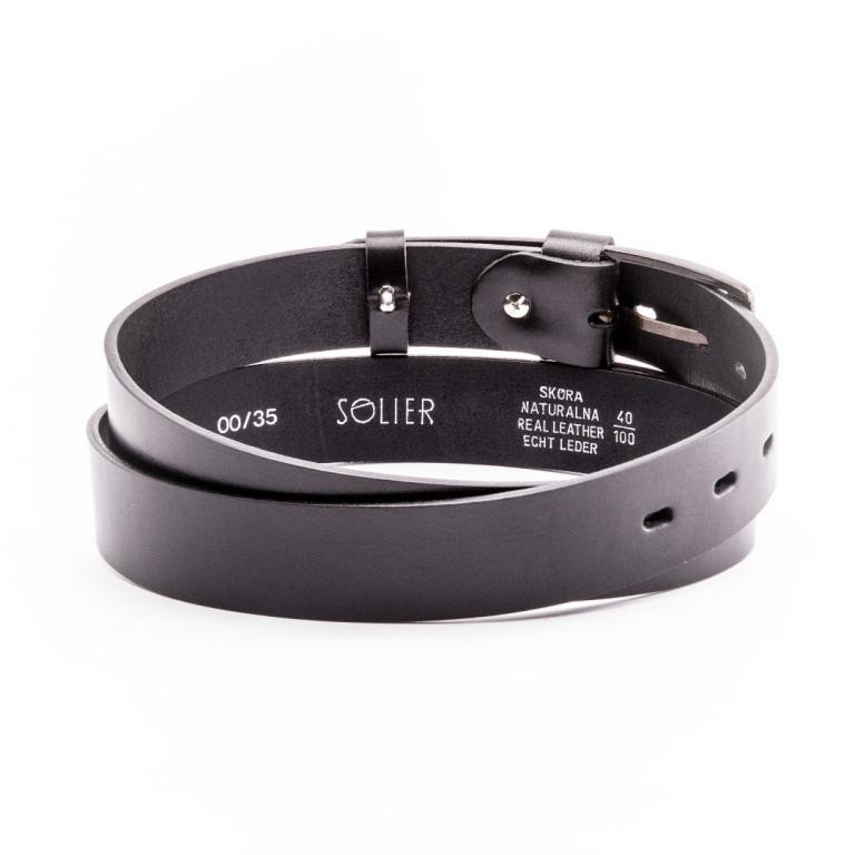 Pánský kožený opasek Solier SB10 - Black - 110cm