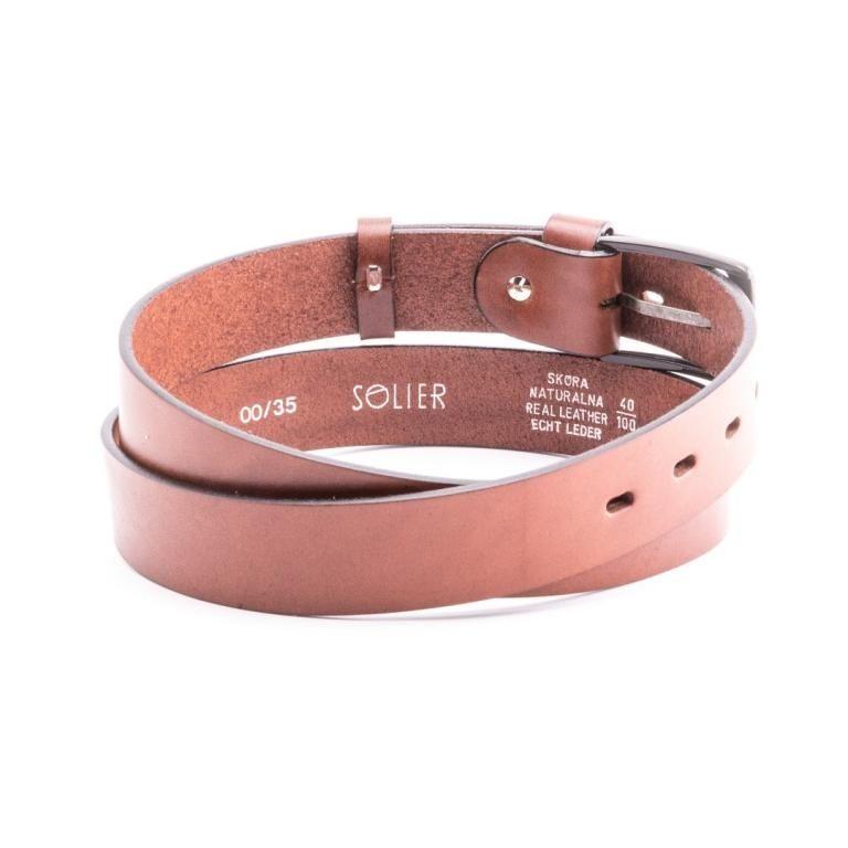 Pánský kožený opasek Solier SB11 - Light brown - 100cm