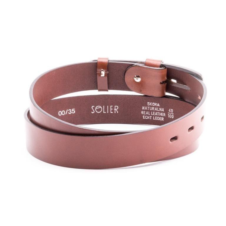 Pánský kožený opasek Solier SB10 - Light brown - 100cm