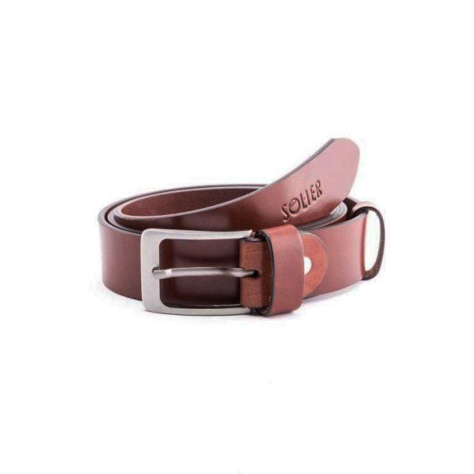 Pánský kožený opasek Solier SB10 - Dark brown - 90cm