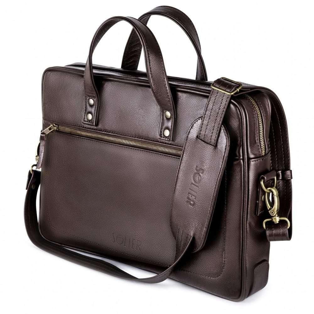 Solier kožená taška na notebook SL04 brown (tmavě hnědá)
