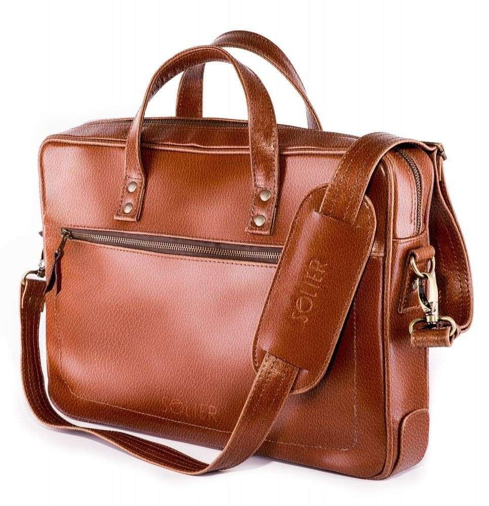 Solier kožená taška na notebook SL04 vintage brown (světle hnědá)
