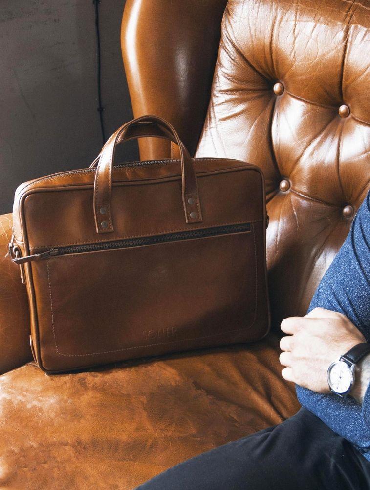 Solier kožená taška na notebook SL05 vintage brown (světle hnědá)