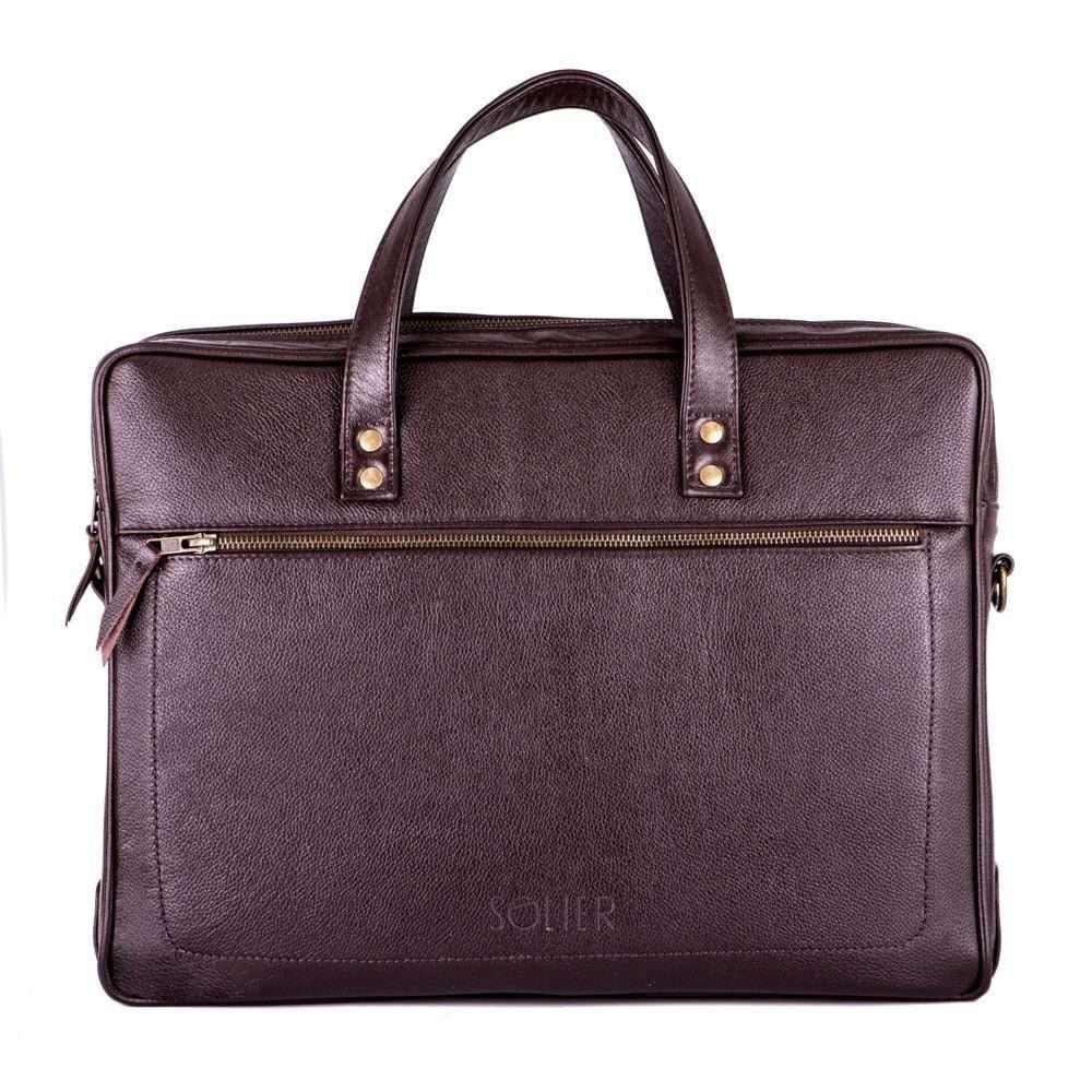 Solier kožená taška na notebook SL05 brown (tmavě hnědá)