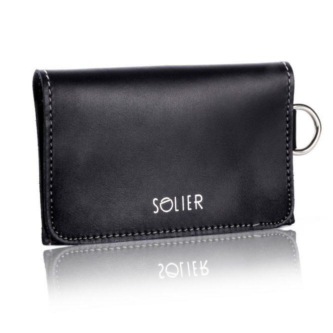 Moderní kožená pánská peněženka značky SOLIER SW20 SLIM - DARK BLACK
