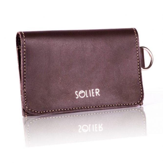 Moderní kožená  pánská peněženka značky SOLIER SW20 SLIM - DARK BROWN VINTAGE