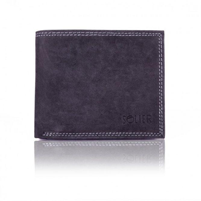 Elegantní kožená pánská peněženka značky SOLIER SW24 - BLACK