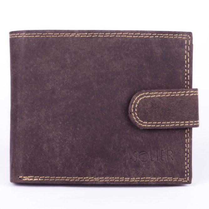 Elegantní kožená pánská peněženka značky SOLIER SW25 - BROWN